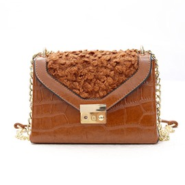 Ericdress Trendy Embroidered Plush Women Crossbody Bag