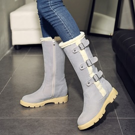 Ericdress Buckle Side Zipper Plain Snow Boots