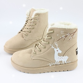 Ericdress Print Animal Lace-Up Women's Snow Boots