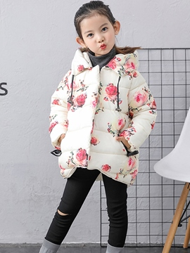 Ericdress Flower Print Hooded Thick Girl's Down Jacket
