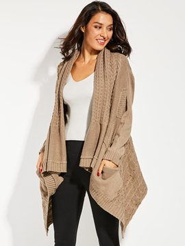 Ericdress Plain Mid-Length Thick Cardigan Sweater