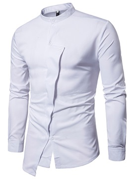 Ericdress Unique Plain Stand Collar Slim Men's Shirt