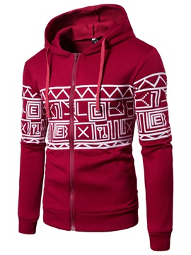 Ericdress Hooded Zipper Print Men's Hoodie