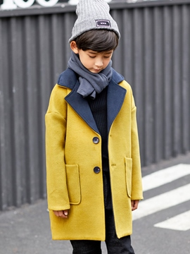Ericdress Notched Lapel Single-Breasted Boy's Mid-Length Coat