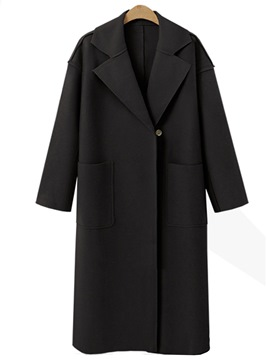 Ericdress Loose Plain Long Coat