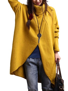 Ericdress Turtleneck Mid-Length Oversized Sweater