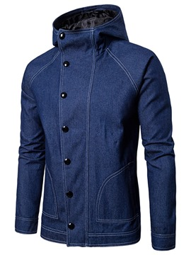 Ericdress Plain Hood Denim Casual Men's Jacket