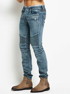 Ericdress Mid-Waist Worn Slim Men's Denim Pants