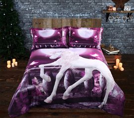 Vivilinen 3D Unicorn and Full Moon Printed 4-Piece Purple Bedding Sets/Duvet Covers