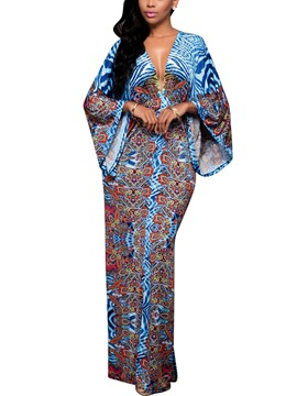 Ericdress V-Neck Batwing Sleeve Print Fall Maxi Dress