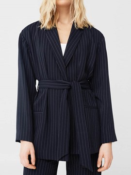 Ericdress Plain Mid-Length Stripe Lace-Up Blazer