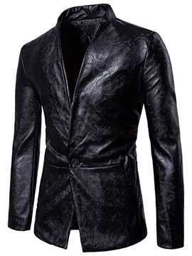 Ericdress PU One Button Slim Vogue Men's Blazer