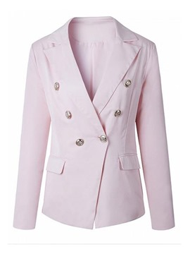 Ericdress Slim V-Neck Double-Breasted Blazer