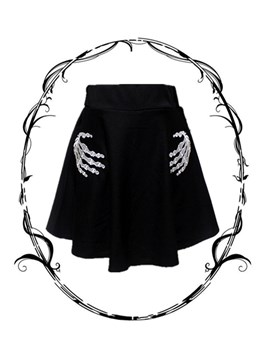Skull Embroideried A-Line Women's Mini Skirt