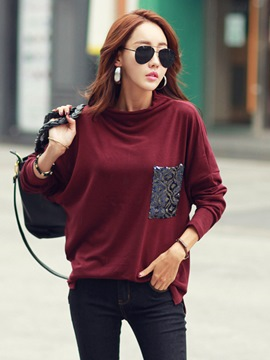 Ericdress Loose Pocket Batwing Sleeve T-shirt
