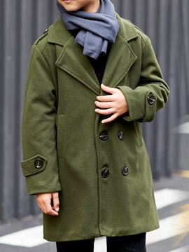 Ericdress Plain Notched Lapel Double-Breasted Boy's Coat