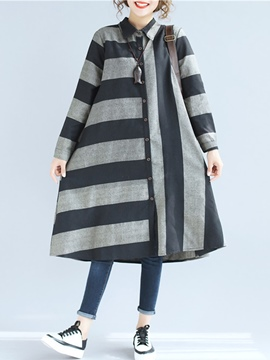 Ericdress Lapel Stirpe Long Sleeve Mid-Calf Casual Dress