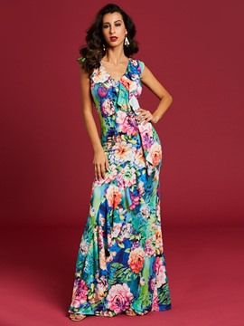 Ericdress V-Neck Ruffles Women's Floral Print Maxi Dress