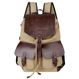 Ericdress Vintage Belt-Decorated Color Block Men's Backpack