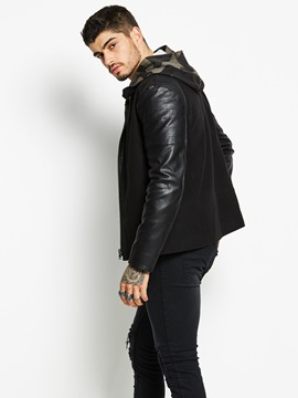 Ericdress Stand Collar Patched Zip Casual Men's Jacket