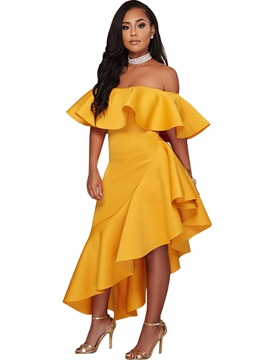 Ericdress Off-The-Shoulder Asymmetrical Ruffle Maxi Dress
