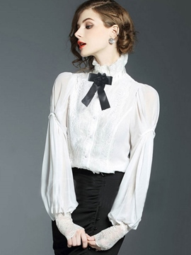 Ericdress Stand Collar Slim Lantern Sleeve Blouse