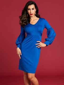 Ericdress V-Neck Lantern Sleeve Women's Bodycon Dress