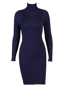 Ericdress High-Neck Long Sleeve Plain Sheath Sweater Dress