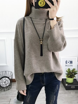 Ericdress Loose Plain Turtleneck Sweater