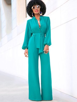 Ericdress Lantern Sleeve Wide Leg Women's Jumpsuit
