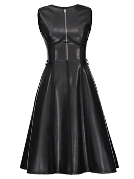 Ericdress PU Zipper Sleeveless Mid-Calf A Line Dress