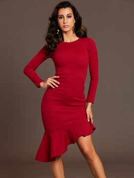 Ericdress Round Neck Asymmetrical Bodycon Dress
