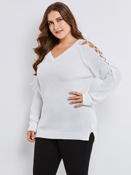 Ericdress Plus-Size V-Neck Hollow Knitwear