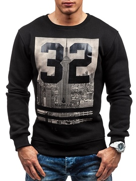 Ericdress Round Neck Letter Print Slim Men's Sweatershirt