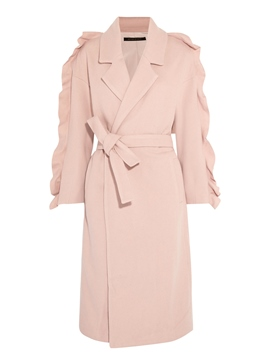 Ericdress Plain Belt Mid-Length Coat