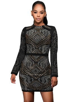 Ericdress Scoop Standard-Waist Long Sleeve Bodycon Dress