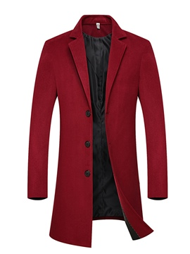 Ericdress Plain Button Slim Men's Woolen Coat