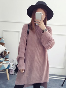 Ericdress Plain Mid-Length Loose Sweater