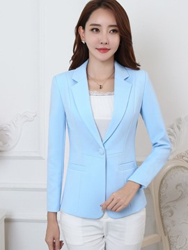 Ericdress Solid Color One Button Slim Blazer
