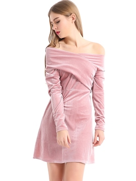 Ericdress Off-The-Shoulder Long Sleeve Plain A Line Dress