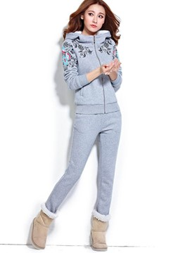 Ericdress Hooded Floral Hoodie and Pants Women's Suit