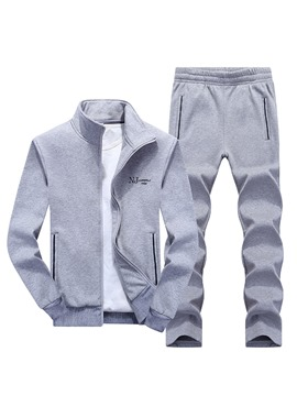 Ericdress Plain Zip Casual Men's Sports Suit