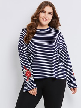 Ericdress Plus-Size Stripe Embroidery T-shirt