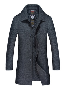 Ericdress Plain Lapel Mid-Length Men's Woolen Coat