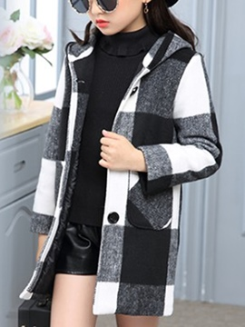 Ericdress Plaid Single-Breasted Hooded Girl's Coat