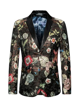 Ericdress Floral Print Button Men's Blazer