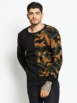 Ericdress Camouflage Patched Vogue Men's Sweater
