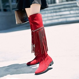 Ericdress Fringe Slip-On Plain Women's Knee High Boots