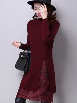 Ericdress Plain Mid-Length Double-Layer Sweater
