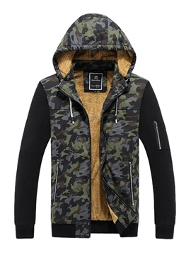 Ericdress Camouflage Patchwork Fleece Lined Men's Jacket